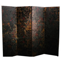 18th Century Painted Leather Screen