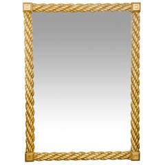 Monumental Vintage Giltwood Rope Mirror