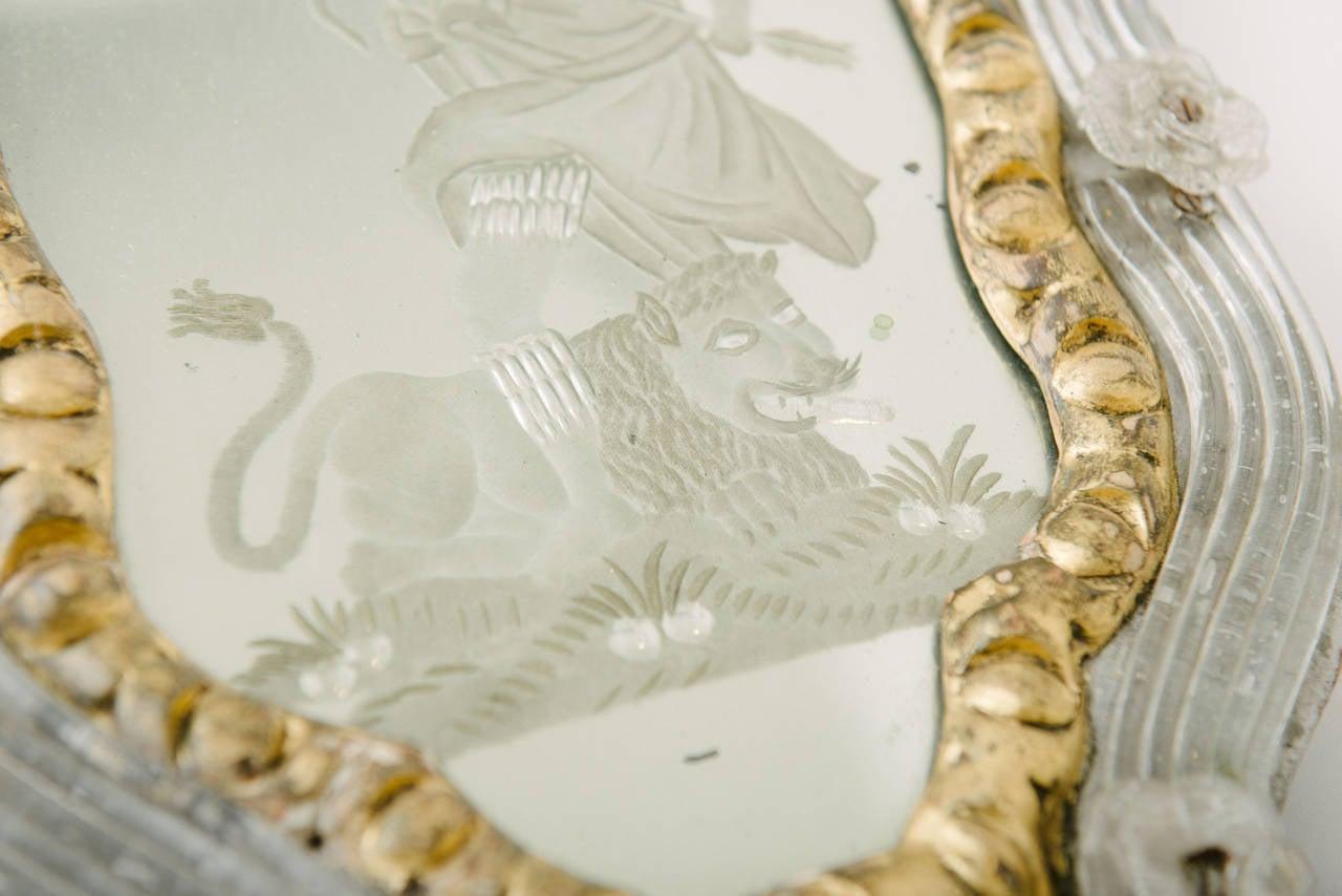 Seltenes Paar Venezianischer Geätzter Spiegel Wandleuchter, 18. Jahrhundert 7