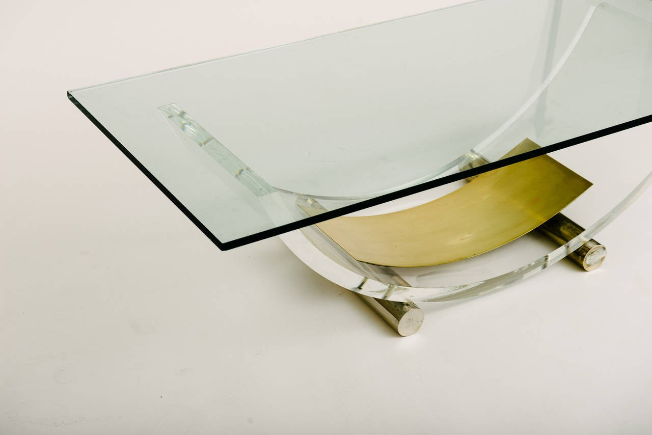 Art Deco French Acrylic and Brass Cocktail Table Base For Sale