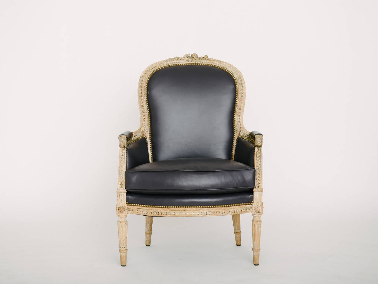 Lambskin Pair of 19th Century French Louis XVI Style Bergere Chairs