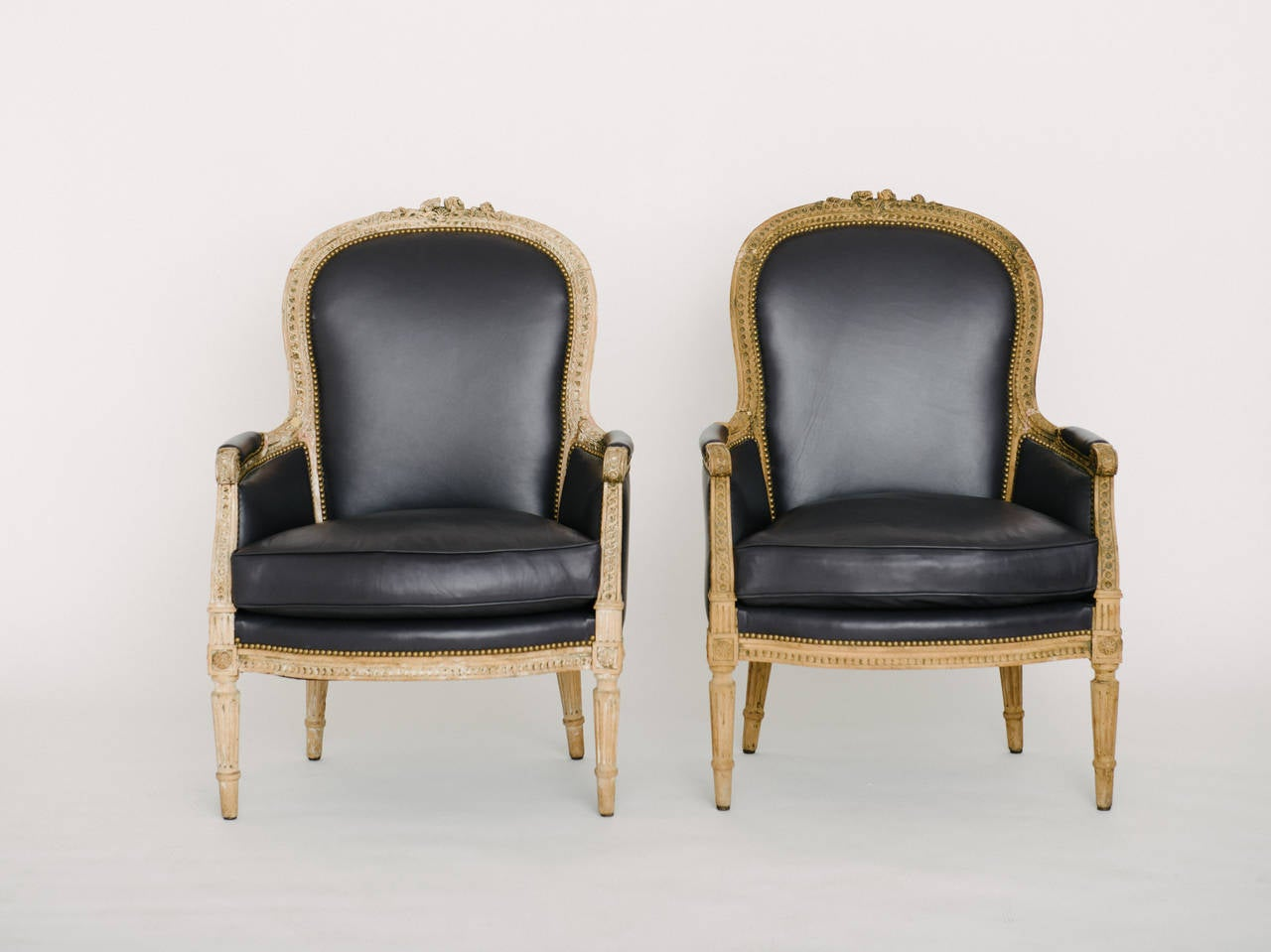 Pair of 19th Century French Louis XVI Style Bergere Chairs In Excellent Condition In Houston, TX