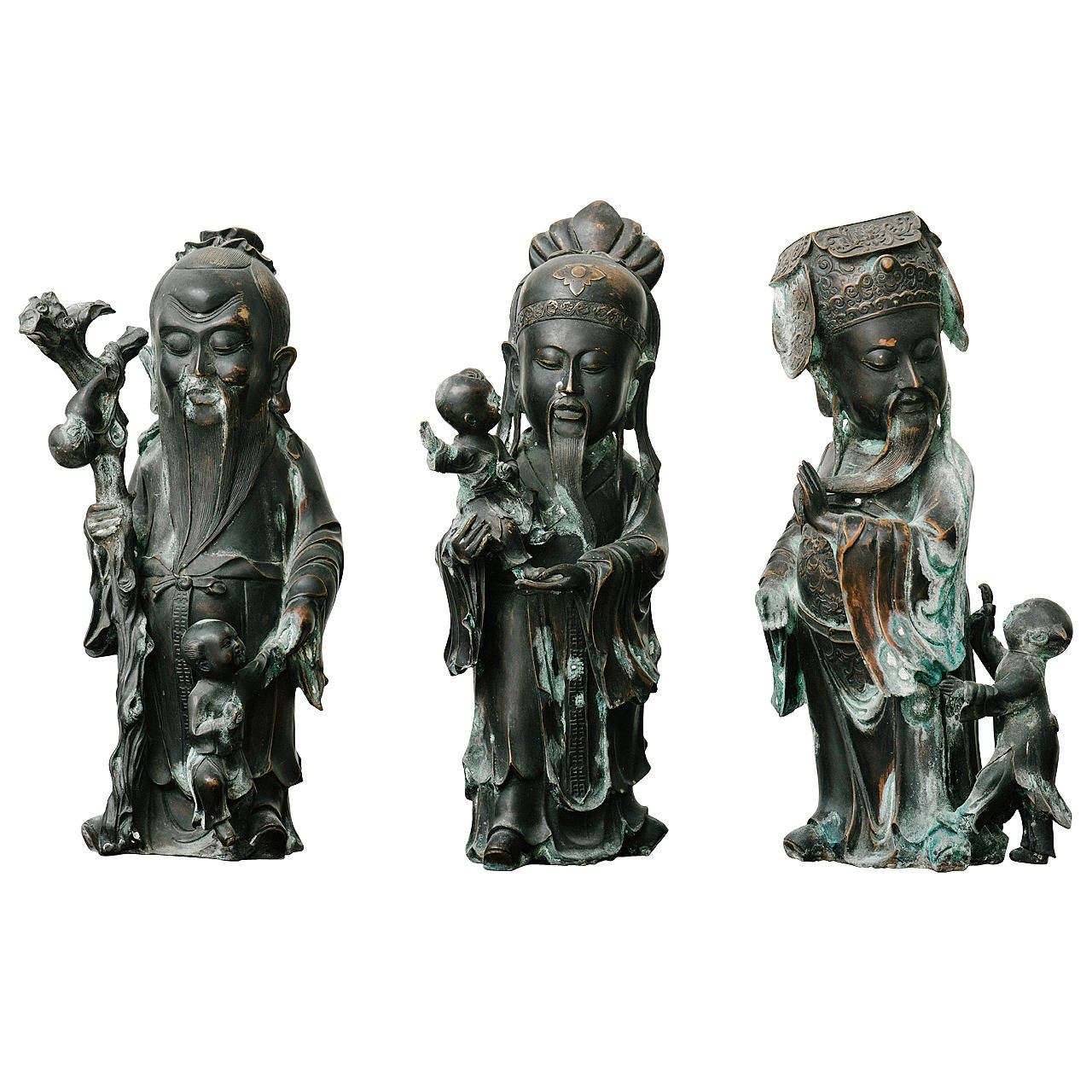 19th Century, Chinese Three Wise Men Bronze Figures, Fu Lou and Shou