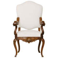 18th Century White  Upholstered French Fauteuil