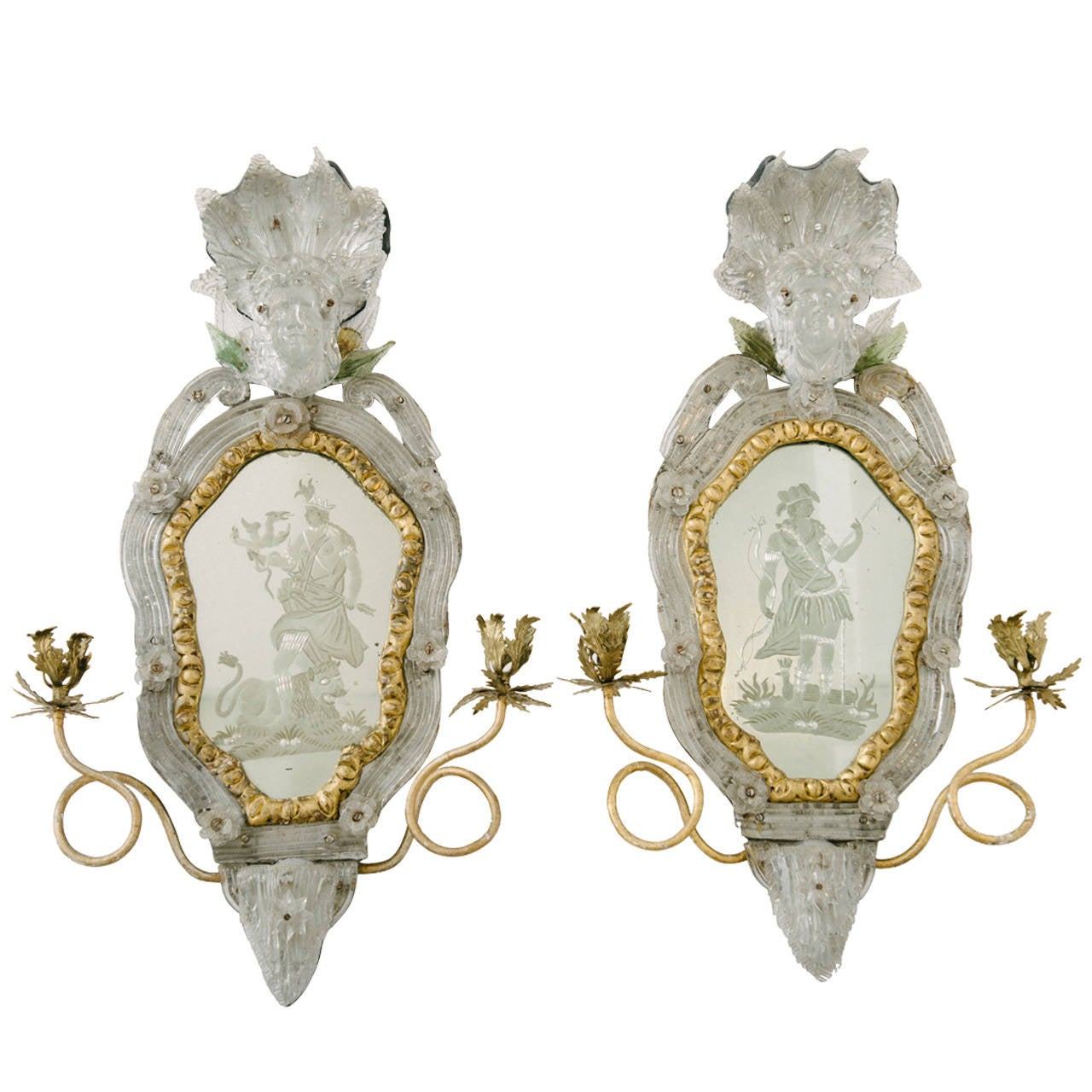 Venetian Wall Sconces : Rare Pair of 18th Century Venetian Etched Mirror Wall Sconces For Sale at 1stdibs