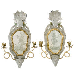 Rare Pair of 18th Century Venetian Etched Mirror Wall Sconces