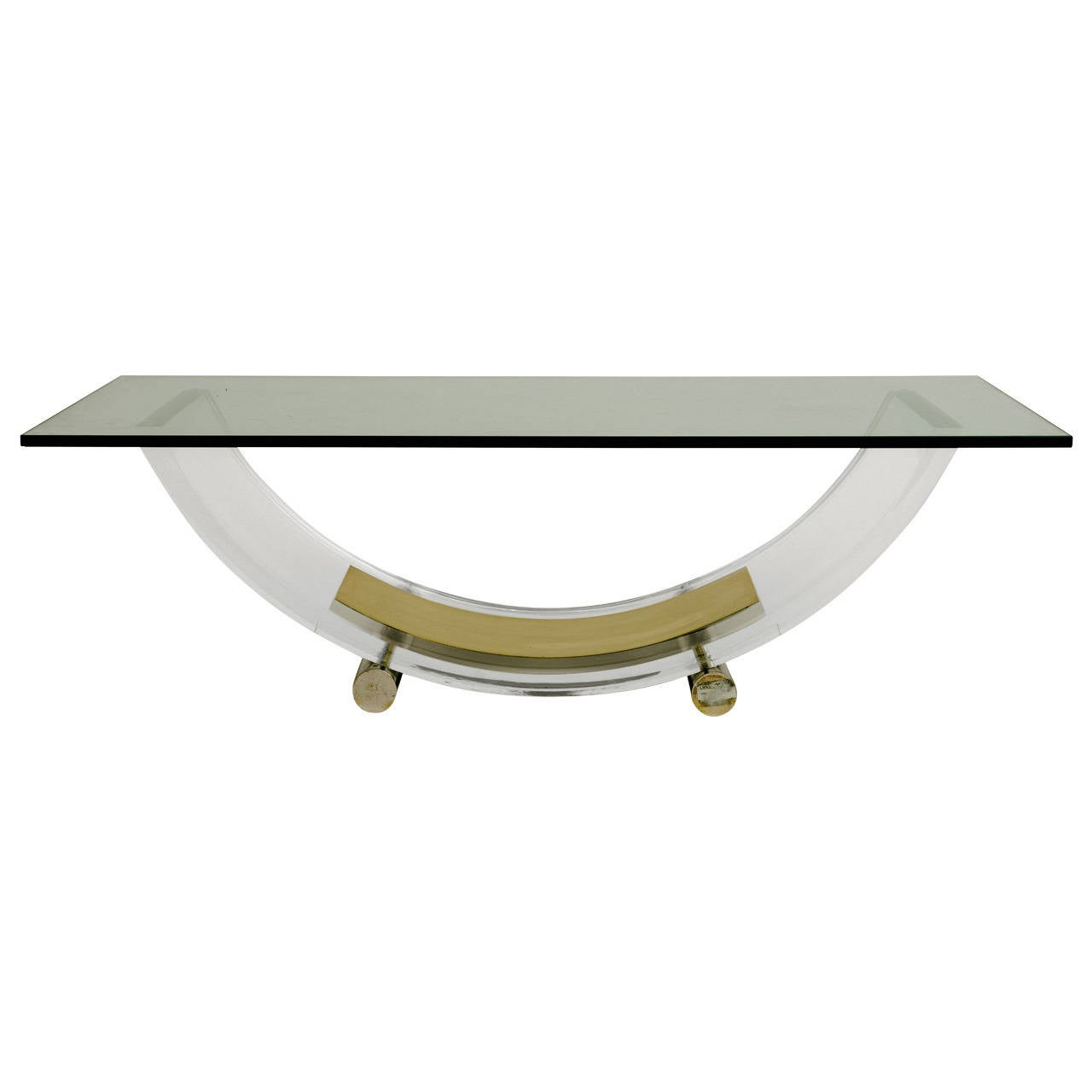 French Acrylic and Brass Cocktail Table Base For Sale