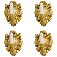 Four Turn of the Last Century French Louis XV Bronze D'ore Sconces