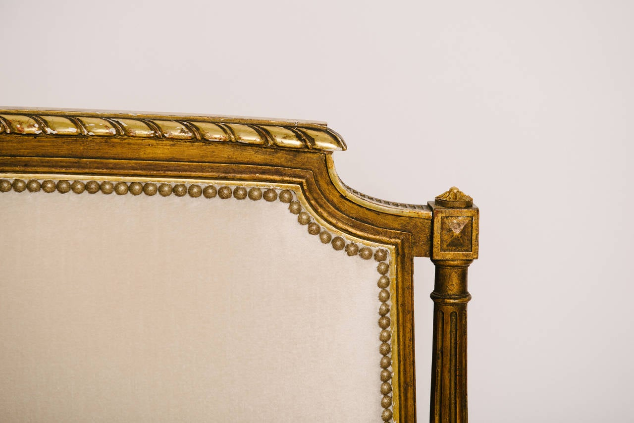 Carved 19th Century Louis XVI Style Giltwood Canapé For Sale