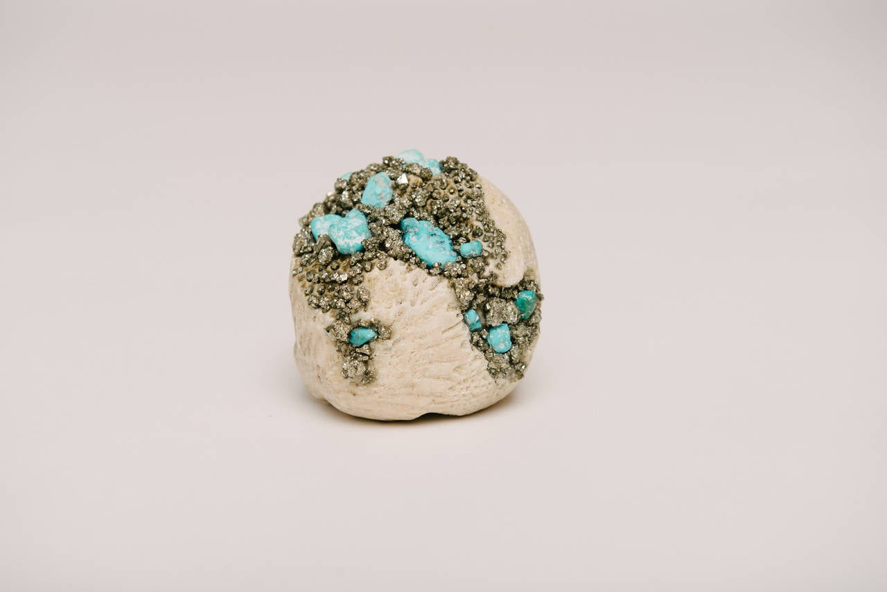 Momento Mori Carved Natural Coral Skull with Pyrite and Turquoise In Excellent Condition For Sale In Houston, TX