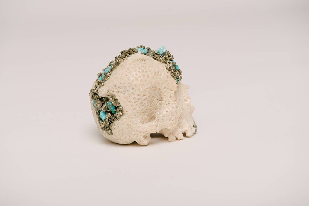 20th Century Momento Mori Carved Natural Coral Skull with Pyrite and Turquoise For Sale