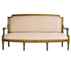 19th Century Louis XVI Style Giltwood Canapé
