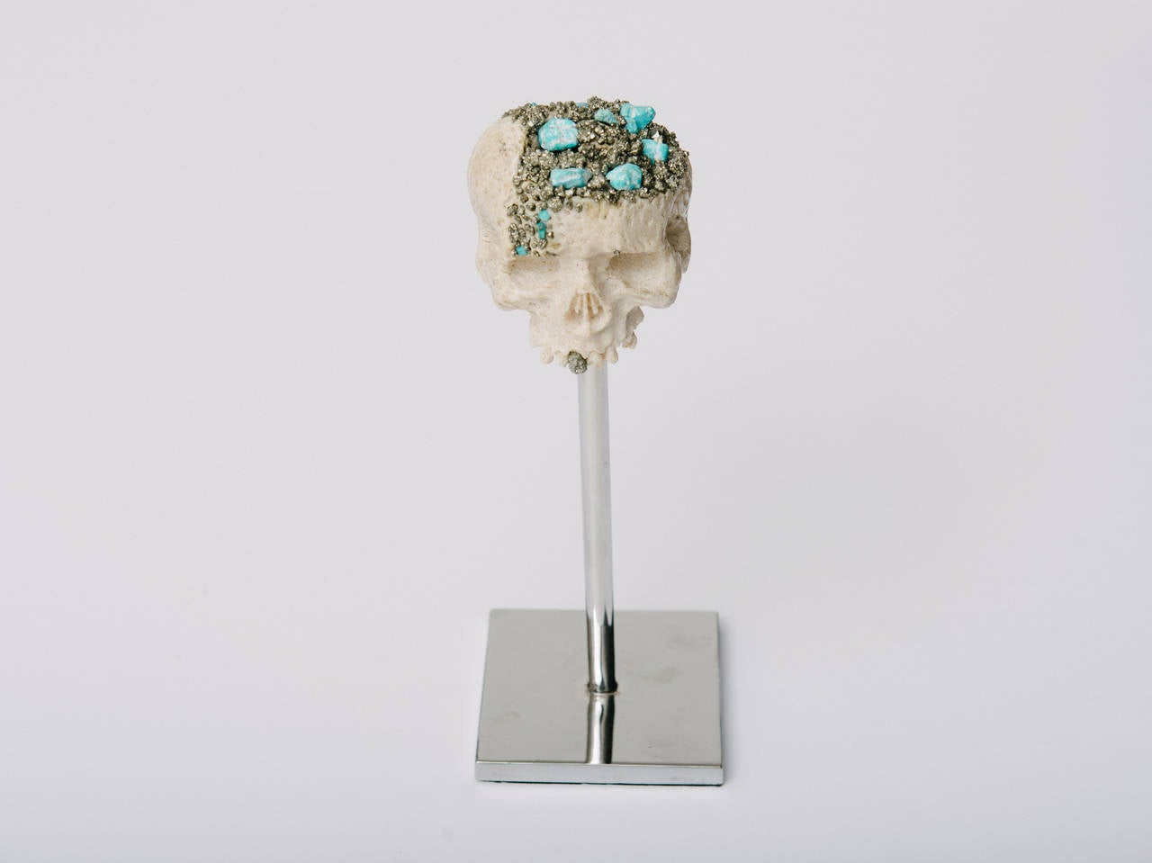 Momento Mori Carved Natural Coral Skull with Pyrite and Turquoise For Sale 1