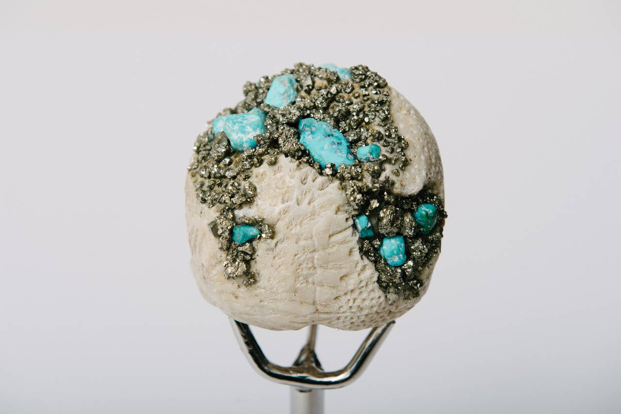 Momento Mori Carved Natural Coral Skull with Pyrite and Turquoise For Sale 2