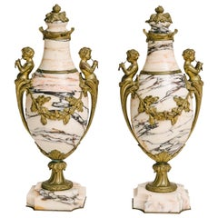Pair of 19th Century French Marble Cassolettes