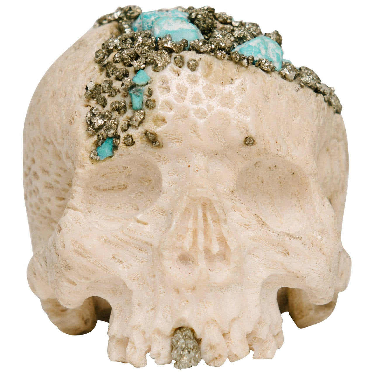 Momento Mori Carved Natural Coral Skull with Pyrite and Turquoise For Sale
