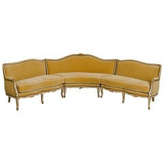1940s Louis XV Style Sectional or Corner Mohair Sofa