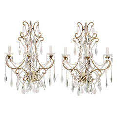 Pair of 1940s Italian Smokey Blue Grey Crystal Gilt Wall Sconces