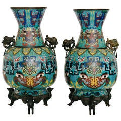 Pair of 19th Century Chinese Cloisonné Vases