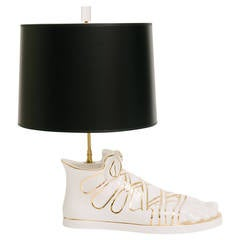 Vintage Fornasetti Gilt Pottery Foot Lamp