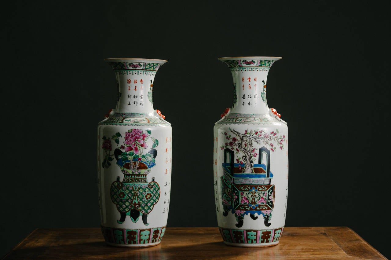 Pair of very early 20th century Chinese polychrome porcelain vases in mint condition, measure: 24