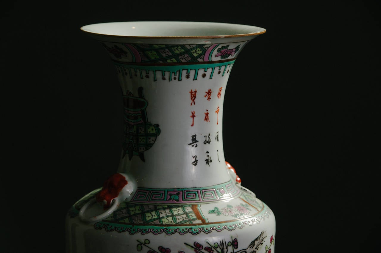 Pair of Chinese Polychrome Vases In Good Condition For Sale In Houston, TX