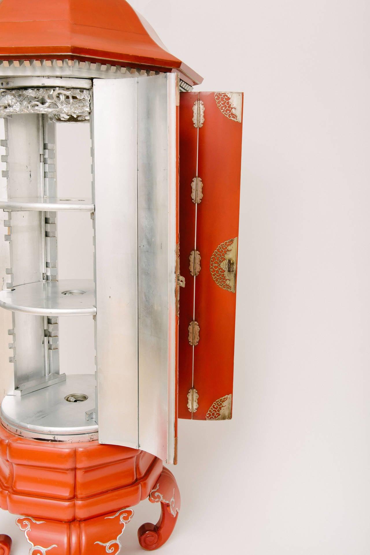 Vintage Mandarin Red Pagoda Display Cabinet 93u0026quot;H at 1stdibs