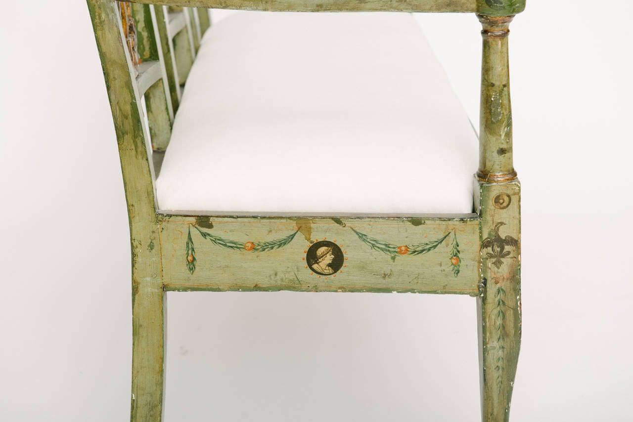 19th Century French Directoire Style Neoclassical Bench In Excellent Condition For Sale In Houston, TX