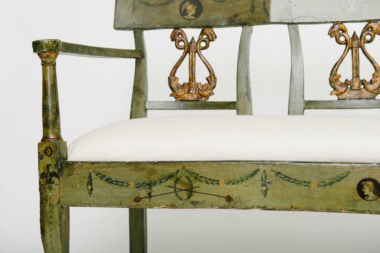 19th Century French Directoire Style Neoclassical Bench For Sale 1