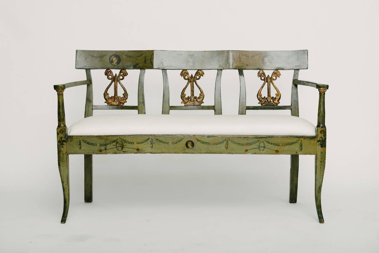 19th century, French Directoire style neoclassical painted bench.