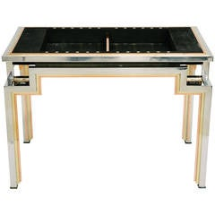 Tri-Metal Backgammon Table by Alain Delon for Maison Jansen