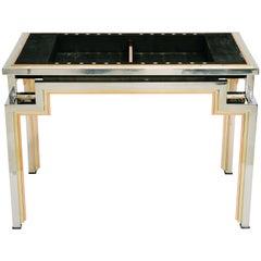 Tri-Metal Backgammon Table by Alain Delon for Maison Jansen