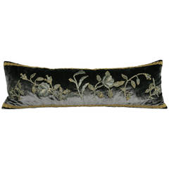 Silk Velvet and 19th Century Metallic Embroidered Appliqué Pillow