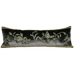 Silk Velvet and 19th Century Metallic Embroidered Appliqué Pillow