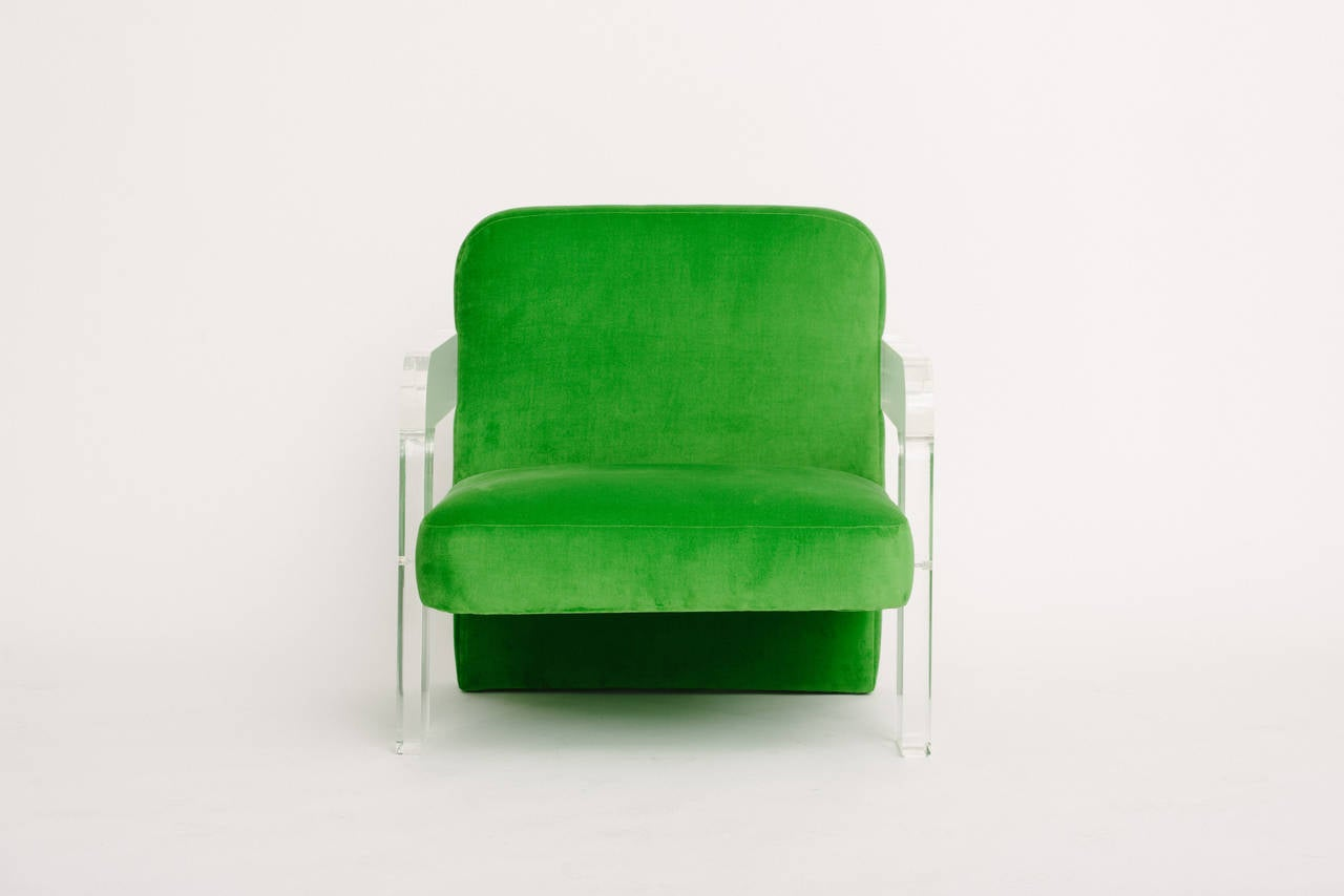 Vintage Vladimir Kagan Lucite Club Chair And Ottoman For