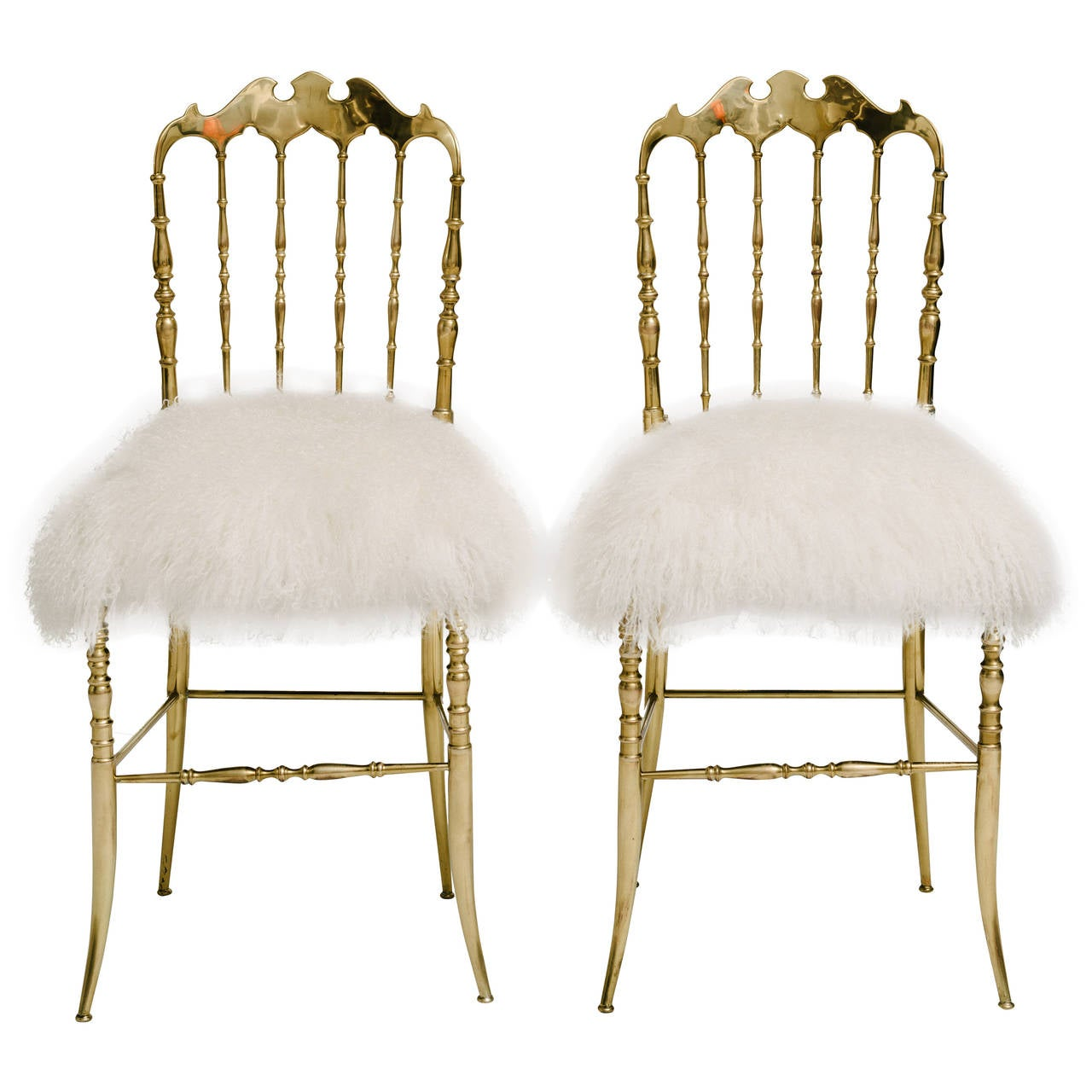 Pair Of Brass Chiavari Chairs In Mongolian Fur At 1stdibs