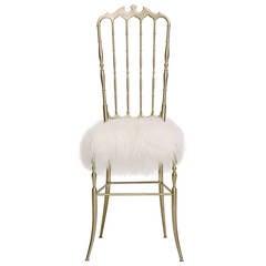 Vintage Italian Chiavari Chair in Mongolian Fur