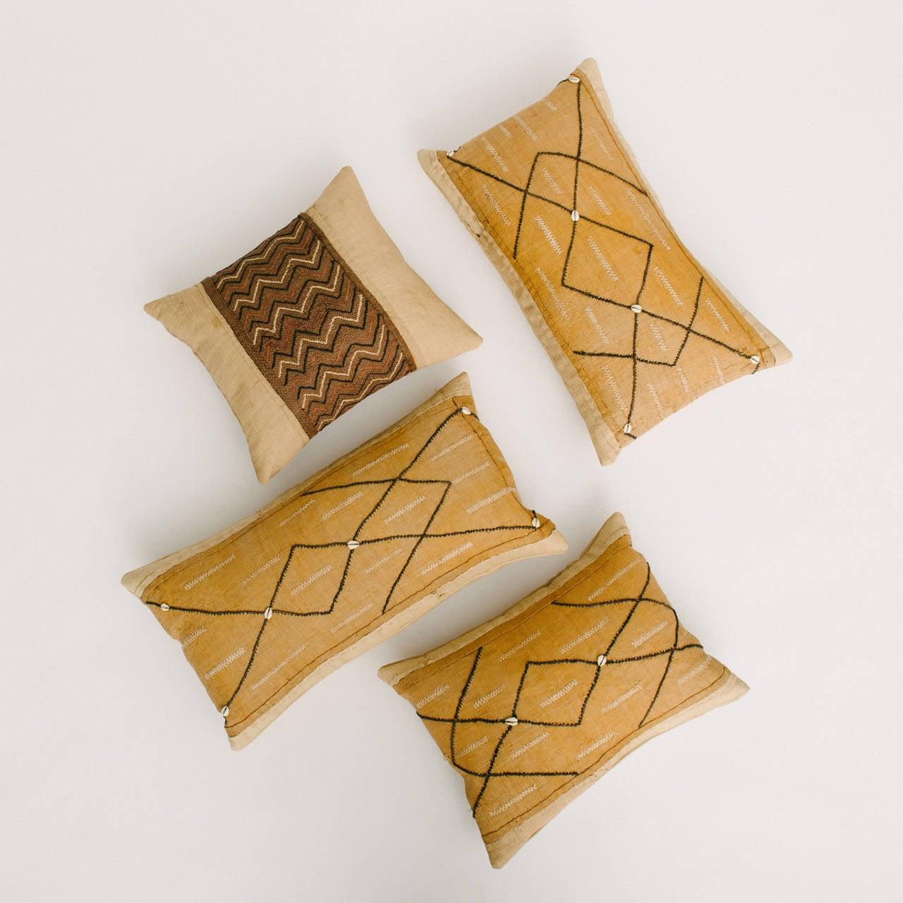 Woven African Raffia Kuba Textile Pillows