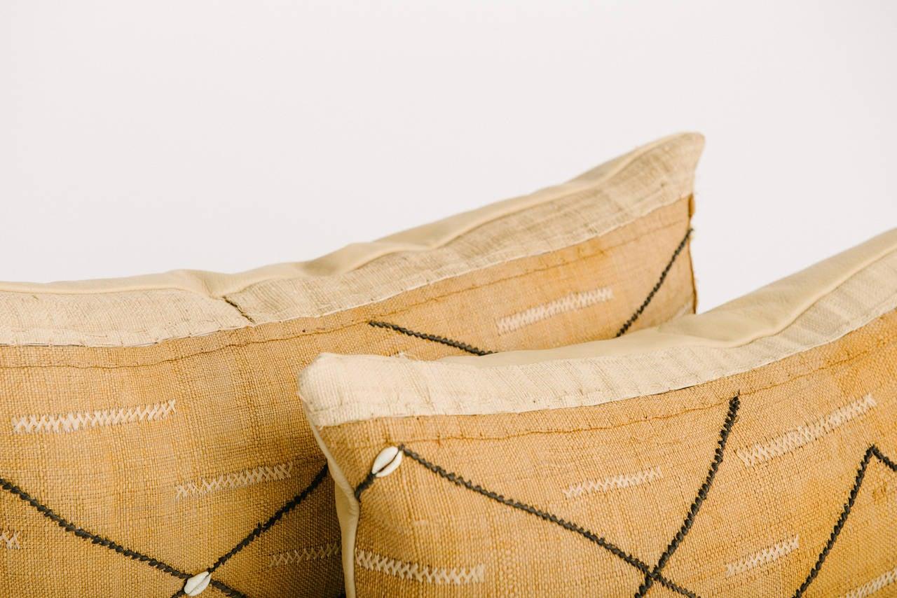 Tribal African Raffia Kuba Textile Pillows