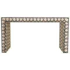 Snakeskin Printed Hair Hide Parsons Console Table