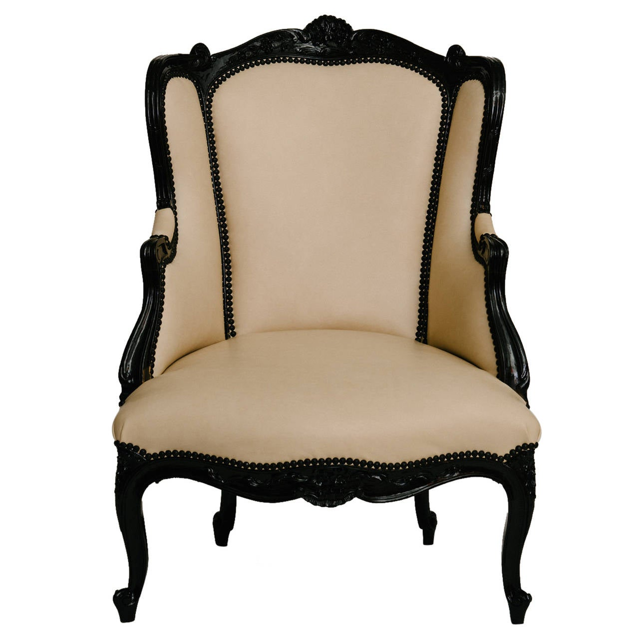 19th Century Black Lacquered Bergere