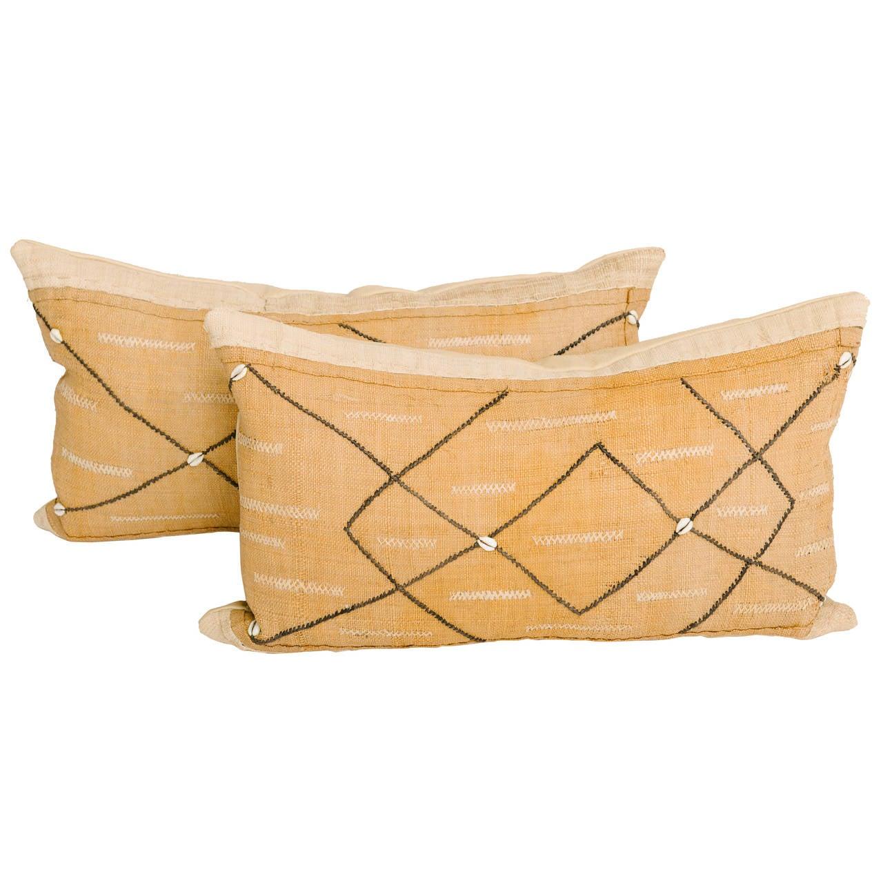 African Raffia Kuba Textile Pillows