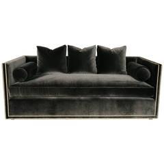 Custom Charcoal Velvet Tuxedo Sofa