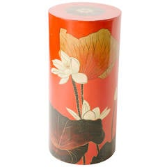 Vintage Red Lacquered Lotus Pedestal