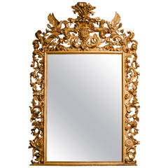 Monumental 19th Century Water and Parcel-Gilt Italian Mirror
