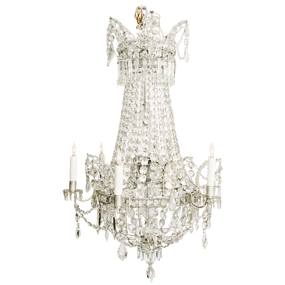 French six light crystal chandelier at 1stdibs for 6 light crystal chandelier