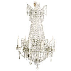 French Six-Light Crystal Chandelier