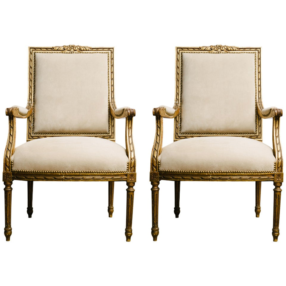pair of 19th century louis xvi style gilt fauteuils at 1stdibs. Black Bedroom Furniture Sets. Home Design Ideas