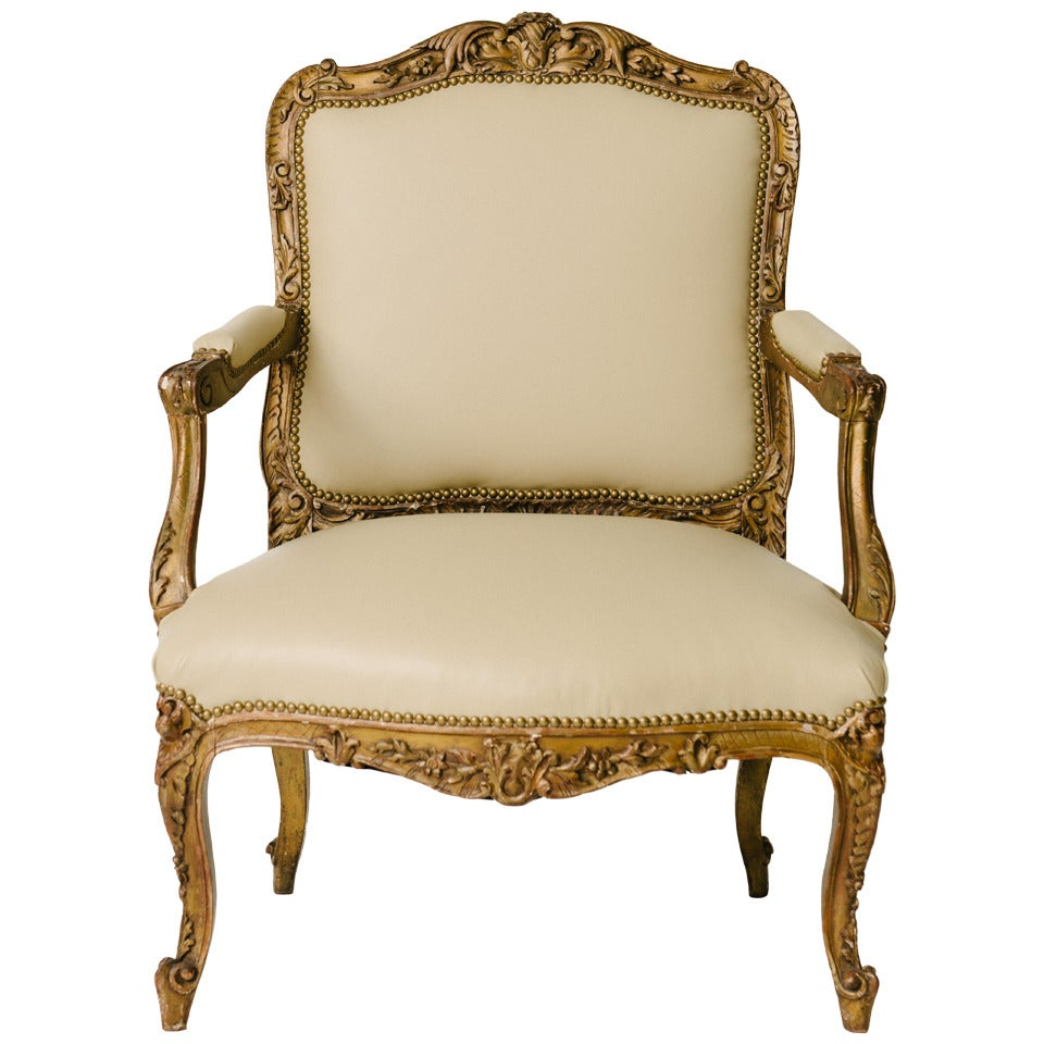 19th century louis xv style carved giltwood fauteuil at. Black Bedroom Furniture Sets. Home Design Ideas
