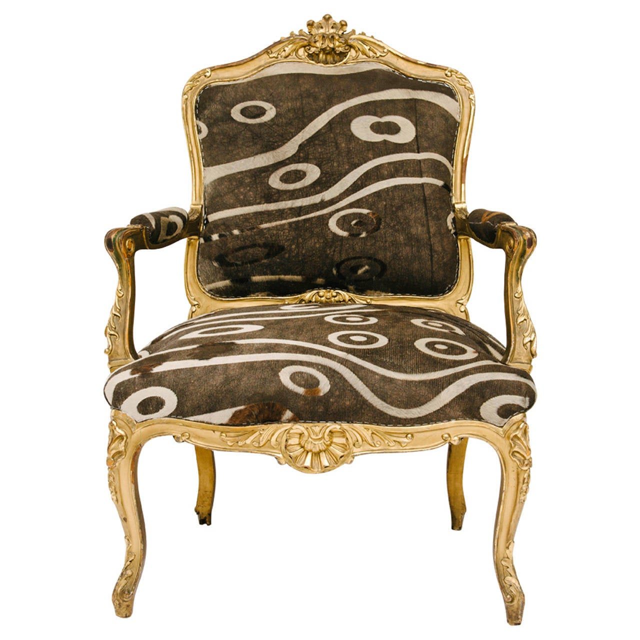 19th century giltwood louis xv fauteuil at 1stdibs. Black Bedroom Furniture Sets. Home Design Ideas